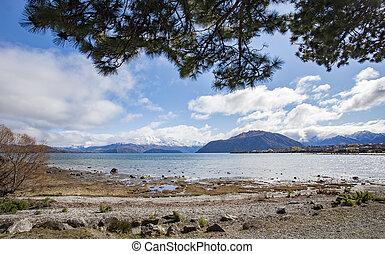 beautiful scenic of lake wanaka south island new zealand...