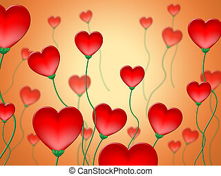 Red Hearts Background Shows Valentine Day And Love