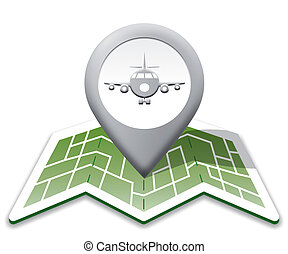 Airport Map Represents Landing Strip And Airfield - Airport...