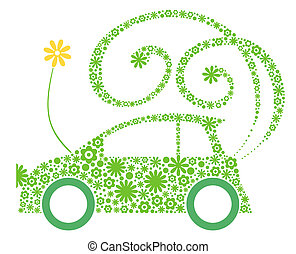 Eco friendly car - Green flower eco car, isolated on white...