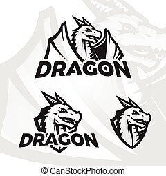 Dragons sport mascot. College league insignia, Dragon school...