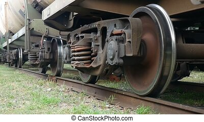 train gets under way on the iron wheels spinning video -...