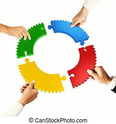 Teamwork and integration concept with puzzle pieces