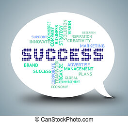Success Bubble Means Triumphant Winning And Resolution -...