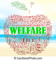 Welfare Apple Represents Well Being And Healthcare - Welfare...