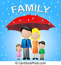 Family Word Umbrella Indicates Kin And Relations - Family...
