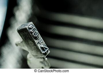 Dollar symbol of an old typewriter typebars