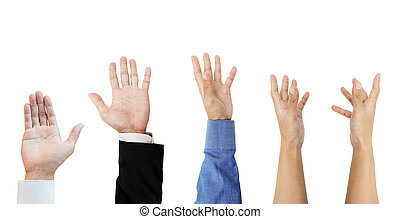 Hands grab raised up, isolated on white background