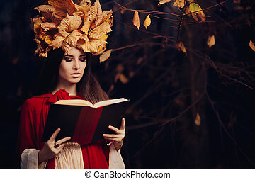 Autumn Woman Reading Book - Portrait of a fall princess with...