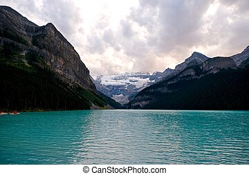 Lake Louise and glacier. - Banff National Park. Rocky...