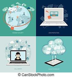 set of digital technology banners - Flat modern design set...