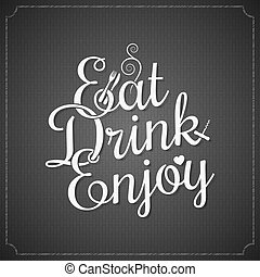 food and drink vintage chalk lettering background