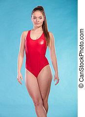 Portrait of lifeguard lifesaver woman. - Portrait of...