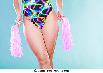 Woman girl in swimsuit with pom poms - Woman girl in...