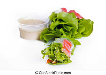 Salad spring roll with green oak and batavia vegetable (Eat...