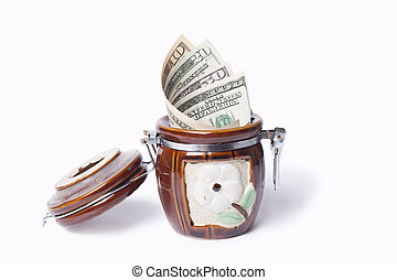 onyx pot with dollars on a white background