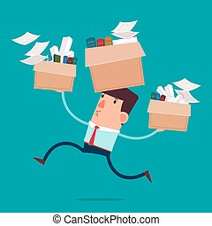 moving to new office - young businessman carry boxes with...