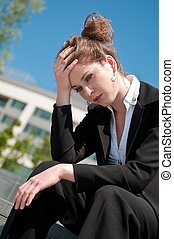 Troubles - worried business woman - Young depressed business...