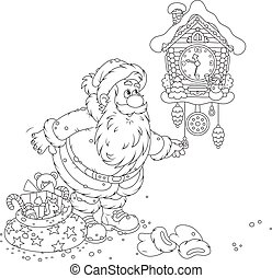 Santa winding up his cuckoo-clock - Black and white vector...