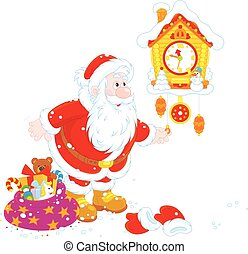 Santa winding up his cuckoo-clock - Vector illustration of...