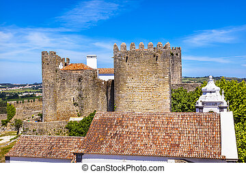Castle Turrets Towers Walls Roofs Obidos Portugal - Castle...