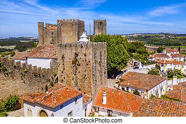 Castle Turrets Towers Walls Orange Roofs Obidos Portugal -...