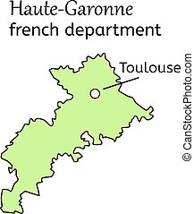 Haute-Garonne french department map on white in vector
