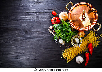 Italian food preparation pasta on wooden board