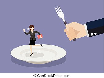 Business woman run away from big hungry man Business concept...
