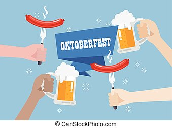 Oktoberfest with a glass of beer and sausage
