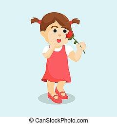 girl holding flower red