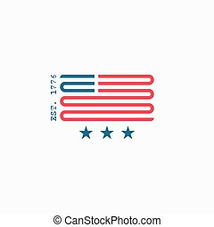 American flag logo, red and blue ribbon design