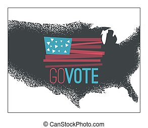 Go vote illustration, primitive flag on dark grundy US map...