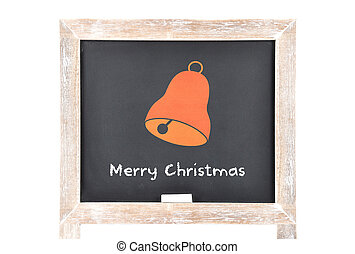 Christmas greetings with bell on blackboard