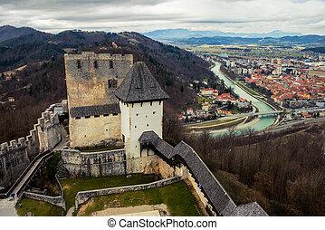 Stari grad of Celje, Slovenia. Bridge over the Savinja...