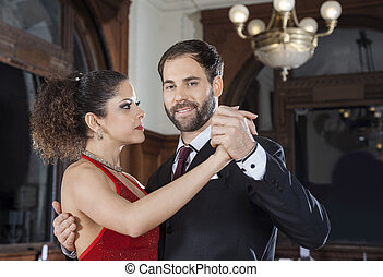 Argentine Tango Dancer Performing With Partner - Portrait of...