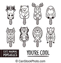 Cute animal popsicles outline illustration. Vector ice cream set