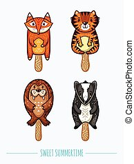 Cute animal popsicles illustration. Vector ice cream set