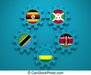 East African Community members national flags - East African...