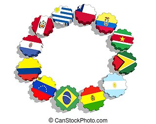 Union of South American Nations members national flags