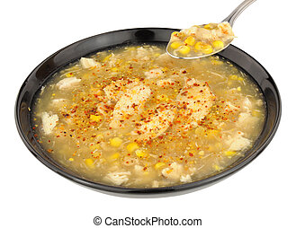 Chicken And Sweetcorn Soup - Chicken and sweetcorn soup in a...