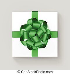 White Square Gift Box with Shiny Green Ribbon Bow