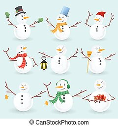 Winter christmas snowmans collection. Vector illustration....