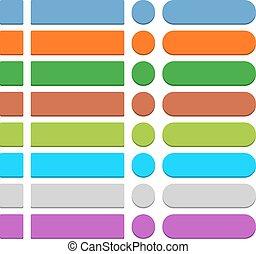 Flat empty web icon colored button