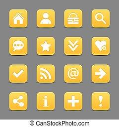 Yellow satin icon web button with white basic sign