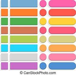 Flat blank web button internet icon set