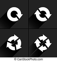 White arrow loop, refresh, reload, rotation icon