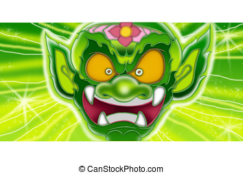 Thai Giant angry face character design - Thai Giant Green...