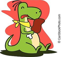 Eating Dinosaur vector art