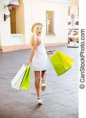 袋子, 婦女, 購物, 背, 年輕, 微笑, 看法